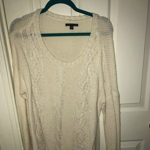 Beaded American Eagle Cable Knit Sweater